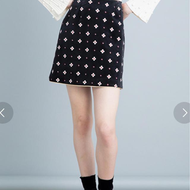 Lily Brown(リリーブラウン)のリリーブラウン 小紋刺繍台形スカート レディースのスカート(ミニスカート)の商品写真