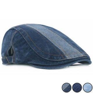 デニム ハンチング ベレー帽 ユニセックス ダークブルーストライプ(ハンチング/ベレー帽)