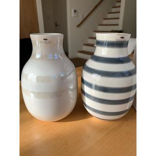ケーラー(Kahler)のOMAGGIOフラワーベースS グラナイトグレー&パールのセット(花瓶)