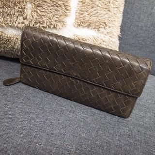 Bottega Veneta - 正規品☆ボッテガヴェネタ 長財布 イントレチャート ラムスキン ブラウン 財布
