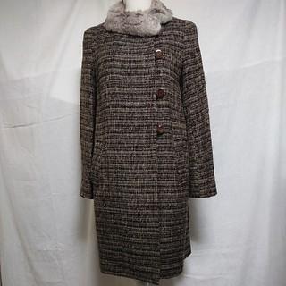 エリオポール(heliopole)の美品 エリオポール ノーカラーツイードのファー付きロングコート サイズ36、S(毛皮/ファーコート)
