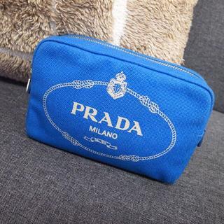 プラダ(PRADA)の正規品☆プラダ カナパポーチ デニム カナパ キャンバス 青 財布 バッグ 小物(ポーチ)