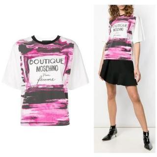モスキーノ(MOSCHINO)のSS19 ブティックモスキーノ パフュームロゴ プリント Tシャツ PINK(Tシャツ(半袖/袖なし))