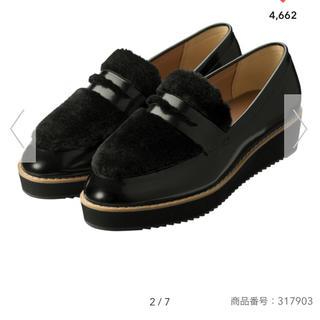 GU - GU 美品 今期 フェイクファーローファー L 黒