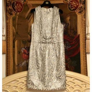 カナダブランド シルバー ビジュー付きドレス(ひざ丈ワンピース)