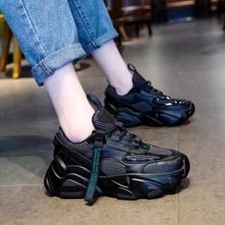 新作 新品 ファッション  厚底 スニーカー  運動靴 ブラック  (スニーカー)