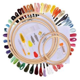 【在庫★処分】刺繍セット 竹製 刺繍枠5本 刺繍糸50束 刺繍針30本