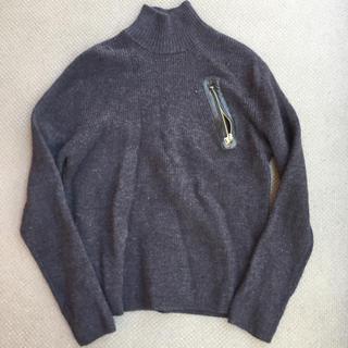 カルバンクライン(Calvin Klein)のCalvinKlain カルバンクライン レザー使用デザインニット サイズL(ニット/セーター)