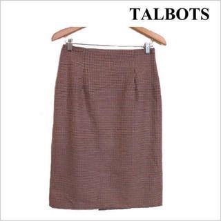 タルボット(TALBOTS)のタルボット◆マルチ千鳥格子柄スリット入り膝丈タイトスカート◆総柄◆L 13号位(ひざ丈スカート)