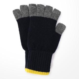 ジョンストンズ(Johnstons)のスコティッシュ トラディショナル 手袋 ネイビー&イエロー(手袋)