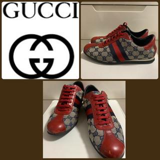 グッチ(Gucci)のGUCCI GG柄 レッドレザー スニーカー(スニーカー)
