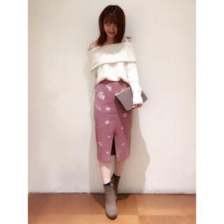 COCO DEAL - ココディール   フラワー刺繍スウェードタイトスカート
