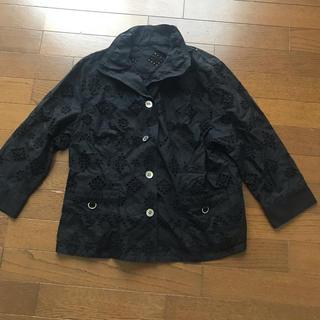 黒 コットンレースジャケット(テーラードジャケット)
