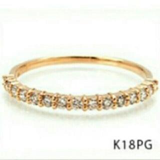 美品 k18 ピンクゴールド ダイヤモンドリング ハーフエタニティ(リング(指輪))