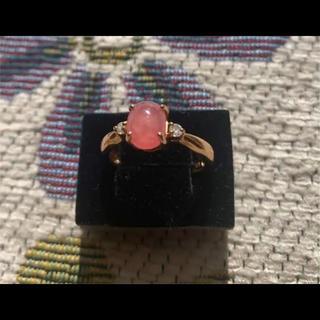 agete - k18 ダイヤモンド インカローズ  リング  ロードクロサイト