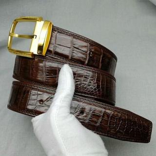 ワニ革保証 本物 クロコダイル 鰐革 本革 メンズベルト 長さ可選択 一枚革 (ベルト)