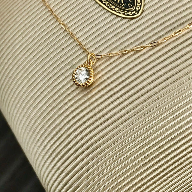 agete(アガット)のagete アガット ベゼルダイヤネックレス K18 レディースのアクセサリー(ネックレス)の商品写真