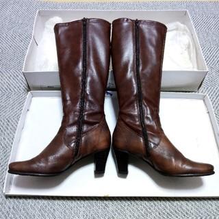 箱で保存!【本革】24.5cmロングブーツ(ブーツ)