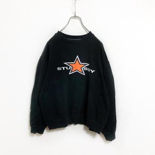 STUSSY - 【90s】USA製 stussy 星 ロゴ スウェット メンズ L ブラック