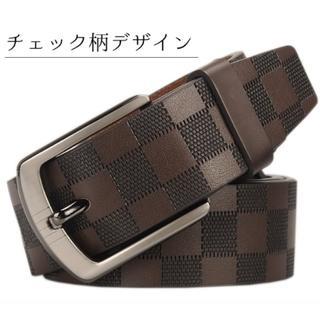 ベルト メンズ カジュアル 本革 ビジネス おしゃれ 革 レザー ブラウン 新品(ベルト)