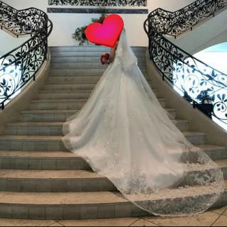 結婚式 ロングベール&グローブ +フラワーヘッドドレス(ウェディングドレス)