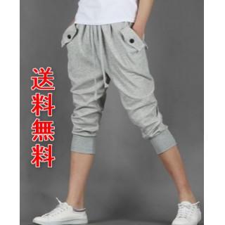 セール☆  メンズ 七分丈  ハーフパンツ スウェット レディース XL グレー(ショートパンツ)