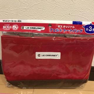 ルクルーゼ(LE CREUSET)の新品 ボスオリジナル フェルトトートバッグ 赤(トートバッグ)