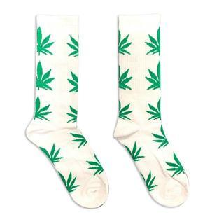 靴下 白緑 ソックス ガンジャ 葉っぱ ストリート  海外 スケボー 人気 4色