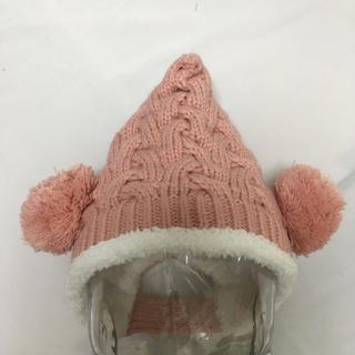 ベビー~キッズ とんがりニット帽◆ピンク ~3歳