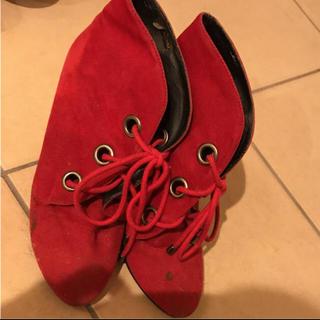 リエンダ(rienda)のrienda 赤ブーツ ヒール 可愛い 紐靴 ブーツ レディース(ブーツ)