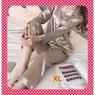 ❤フォロー割引実施中❤レディース シルク風パジャマ ゴールド XL(パジャマ)