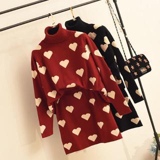 Honey Salon - ラブハートニットセット☆タートルネック長袖プルオーバーセーター赤黒65