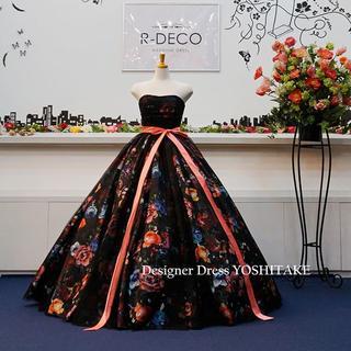 ウエディングドレス(6本ワイヤーパニエ付)黒ベース花柄&黒チュール披露宴/二次会
