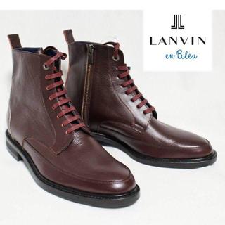 ランバンオンブルー(LANVIN en Bleu)の《ランバン》新品 サイドレースアップ レザーブーツ M((26.5~27cm)(ブーツ)
