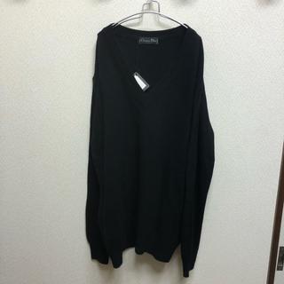 クリスチャンディオール(Christian Dior)の90s 未使用 イタリア製 Christian Dior 深Vネック セーター黒(ニット/セーター)