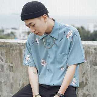 シャツ 半袖 メンズ トップス カジュアル おしゃれ プリント 花柄 ブルー(カード/レター/ラッピング)
