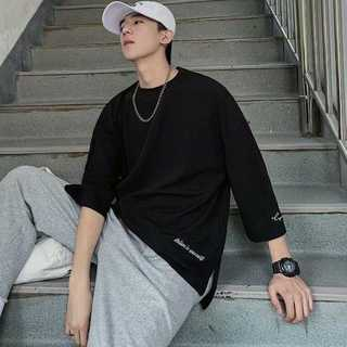 Tシャツ 七分袖 クルーネック オーバーサイズ ストリート ゆったり ブラック(カード/レター/ラッピング)