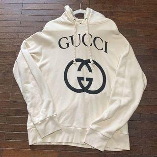 Gucci - グッチ インターロッキングG フーデッド パーカー 白 M