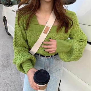 ゴゴシング(GOGOSING)の【予約販売】バルーン袖スクエアネックニット❤︎グリーン(ニット/セーター)