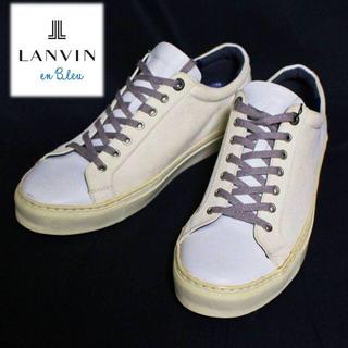 ランバンオンブルー(LANVIN en Bleu)の《ランバン オン ブルー》新品 レザースニーカー 白 Lサイズ(27cm)(スニーカー)