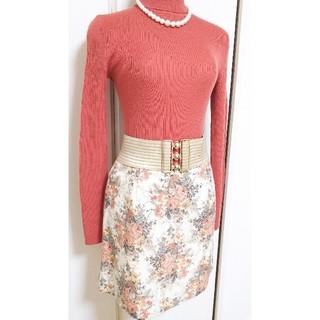 エフデ(ef-de)の約2万円購入 ef-de エフデ アンティーク調 繊細ダマスクローズ柄 スカート(ミニスカート)