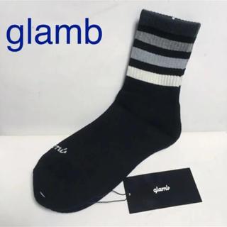 新品 glamb グラム メンズ ソックス 靴下 ラインソックス ブラック
