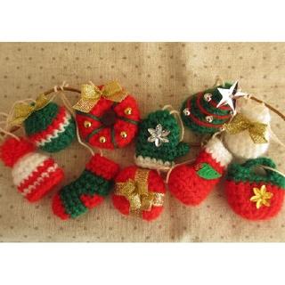 クリスマス ガーランド オーナメント 手編み ハンドメイド雑貨