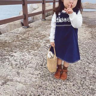 コーデュロイ刺繍入り ロイヤルブルー ジャンパースカート(ワンピース)