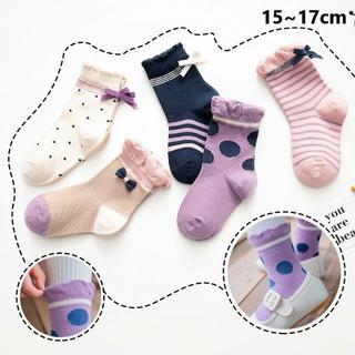 リボンサイド(15~17cm) 5足組 RBS23-M キッズ靴下