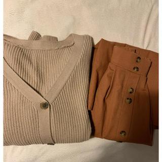 しまむら - しまむら プチプラのあやさん 2wayニットカーディガン&ロングスカート