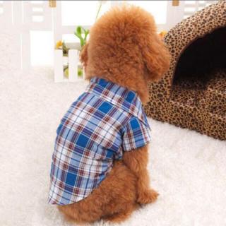 更にお値下げ!新品☆秋冬物☆犬猫服☆チェックシャツ青S(犬)