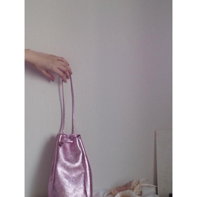 Ron Herman(ロンハーマン)の12/15まで!最終価格!レザー 巾着 バック ハンドバッグ ピンク レディースのバッグ(ハンドバッグ)の商品写真