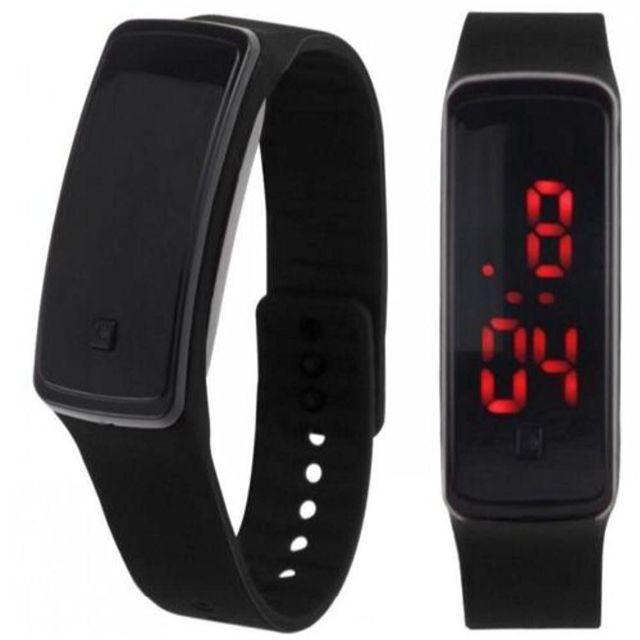 ブラック超軽量 シリコンバンド デジタルウォッチ LED表示腕時計 男女兼用の通販