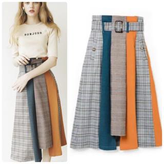 レディアゼル(REDYAZEL)のREDYAZEL チェック 配色ミモレ丈スカート(ロングスカート)